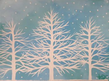 Snowy Silhouette Canvas Painting