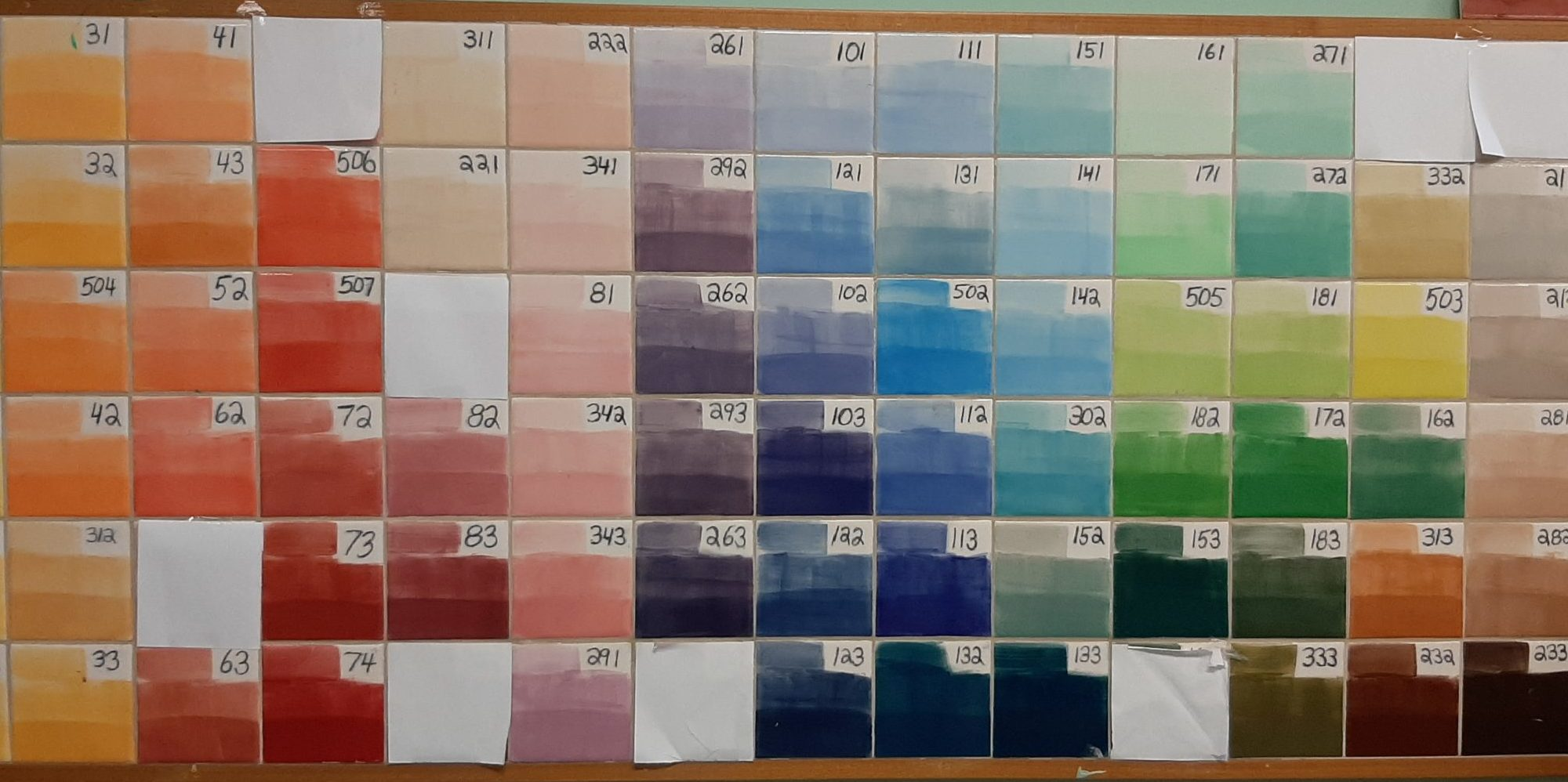 Underglaze Color Chart
