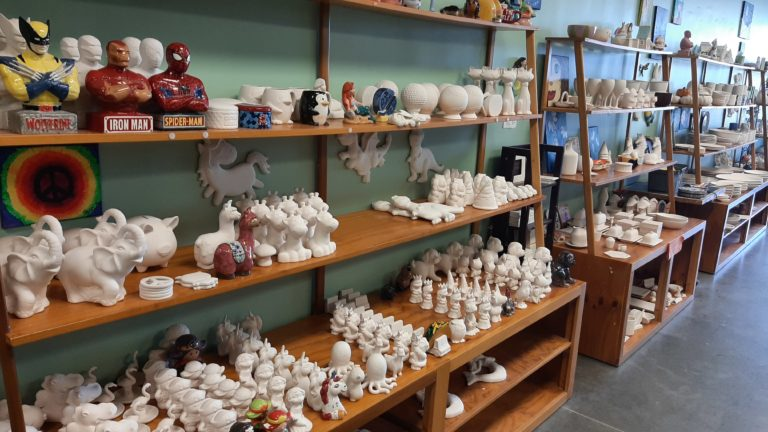 Shelves of Ceramic Bisque at Your Creation Station