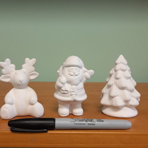 Santa, Christmas Tree and Reindeer